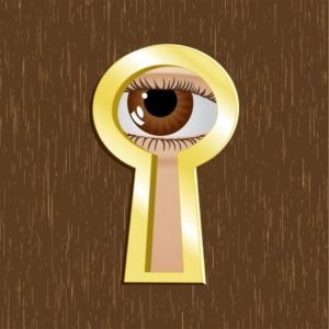10767664 - door keyhole of golden metal with eye