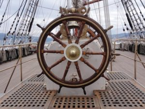 12755865 - a wooden and brass ship wheel