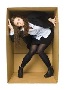 inside of a tight cardboard box