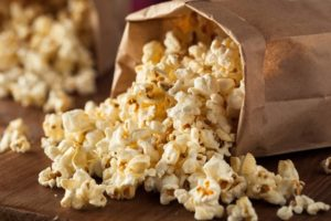 41442682 - homemade kettle corn popcorn in a bag